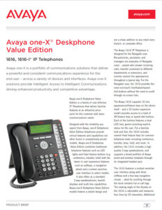 AVAYA 1616 Fact Sheet