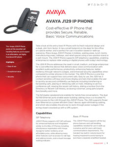 AVAYA J129 Fact Sheet