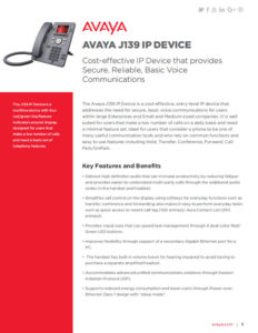 AVAYA J139 Fact Sheet