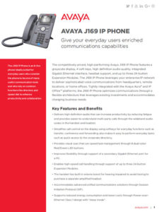 AVAYA J169 Fact Sheet