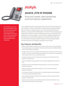AVAYA J179 Fact Sheet